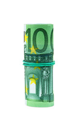Banknotes of 100 euro rolled with rubber