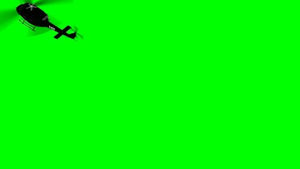 FBI Helicopter Bell UH fly by- green screen