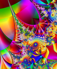Gorgeous colorful fractal, fantastic flower pattern style orname