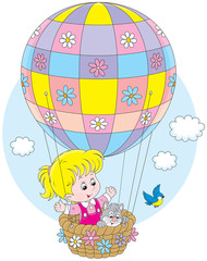 Little girl travelling on an air balloon