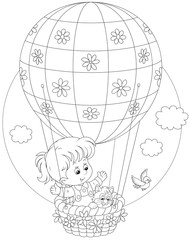 Girl flying on a balloon