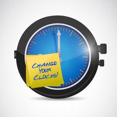 change your clocks sign illustration design