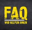 Kreidetafel mit FAQ