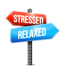 stressed and relaxed signs illustration design
