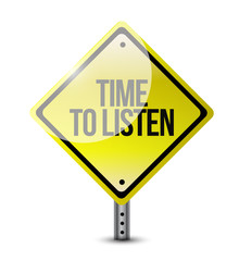 time to listen signpost illustration design