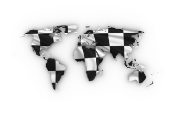 World map showing a checkered flag including a clipping path