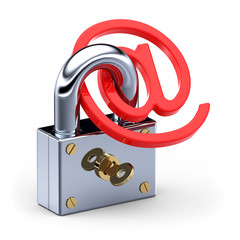 Arobase sign as padlock , internet security