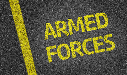 Armed Forces written on the road
