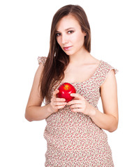 beautiful young woman with red apple
