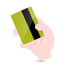 Hand Holding Green Credit Card Vector Illustration