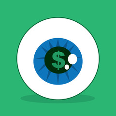 Eyeball with dollar sign in the iris