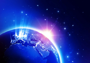 World News Blue (Elements of this image furnished by NASA)