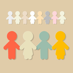 Paper People Holding Hands Illustration