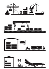 Cargo terminals icon set - vector illustration