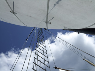 Low angle view of sailboat