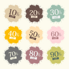 Retro Discount Labels, Stains, Splashes