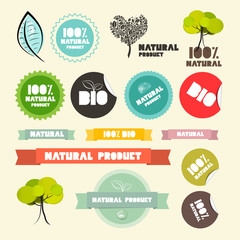 Vector Natural Product Flat Design Retro Labels