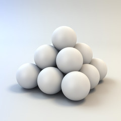 3d white shiny spheres