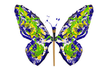 Yellow blue green white paint made butterfly