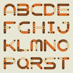 Vector flat alphabet in building kit style.