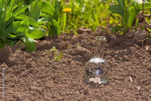 Fotobehang Droogte bulb with clear water on dry soil