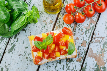 Bruschetta with tomatoes and bell peppers