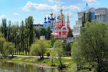 Tambov, embankment of Tsna River with churches, Russia