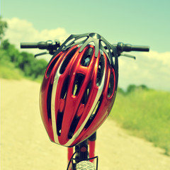 mountain bike and helmet