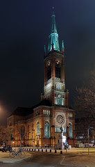 Johanneskirche and monument to Otto von Bismarck in Dusseldorf