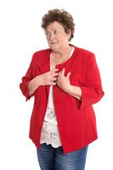 Seniorin: Portrait ältere Frau mit Bluthochdruck Symptome