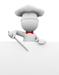 cuoco che indica menu'