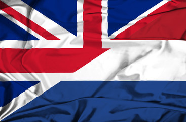 Waving flag of Netherlands and UK