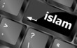 islam word on computer key on enter button