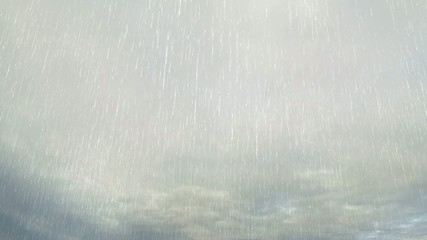 Lightning In Storm Clouds with Rain  - Video background