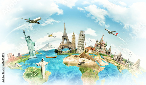 Poster Artistiek mon. Travel the world monument concept