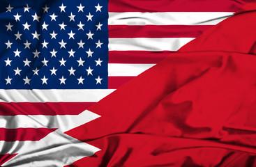 Waving flag of Bahrain and USA