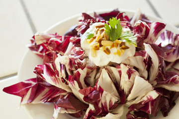 vegetarian salad of radicchio, greek yogurt, almonds,cilantro