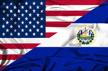 Waving flag of El Salvador and USA