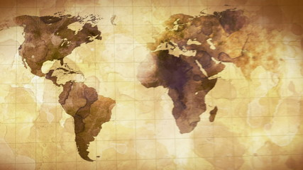 vintage grunge world map animation