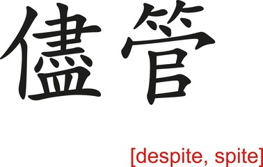 Chinese Sign for despite, spite
