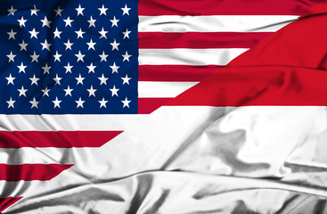 Waving flag of Monaco and USA