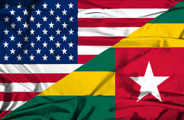 Waving flag of Togo and USA