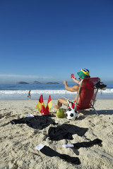 Soccer Football Referee Relaxing on Beach Chair Brazil