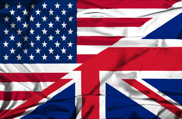 Waving flag of United Kingdon and USA
