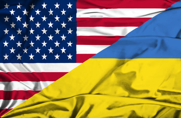 Waving flag of Ukraine and USA