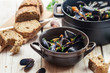 Freshly cooked mussels at home