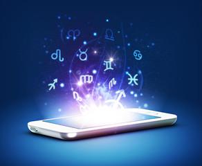 Modern phone zodiac, astrology concept