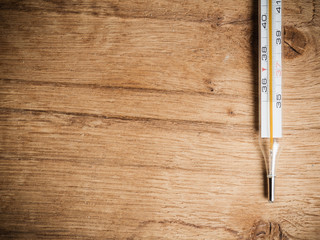 Medical background. Mercury thermometer.