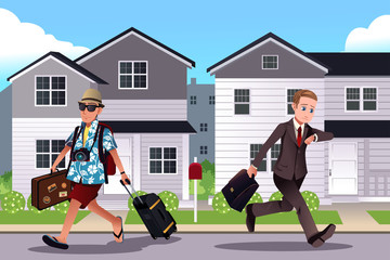 People going to work and vacation concept