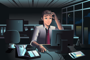 Businessman working late at night in the office